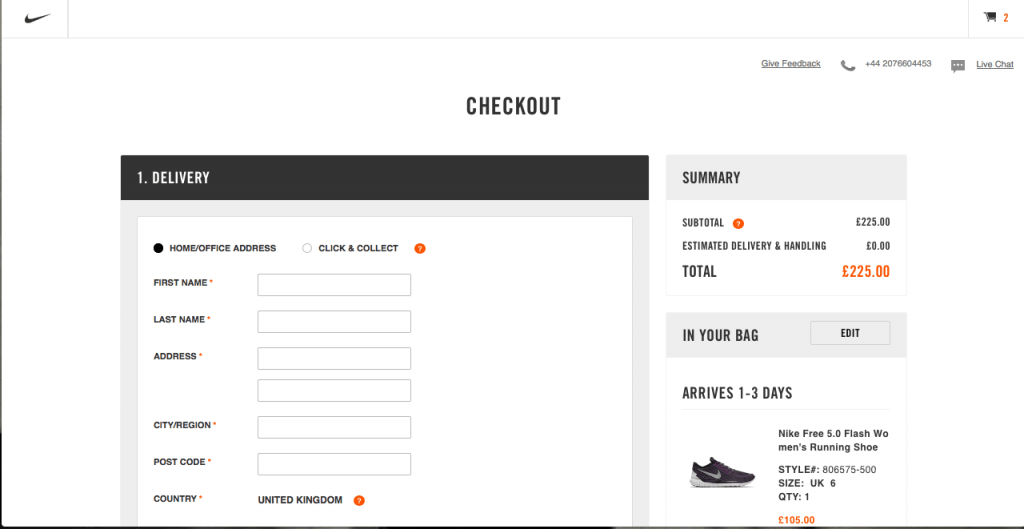 Nike online store is a great example of a checkout screen that includes product images