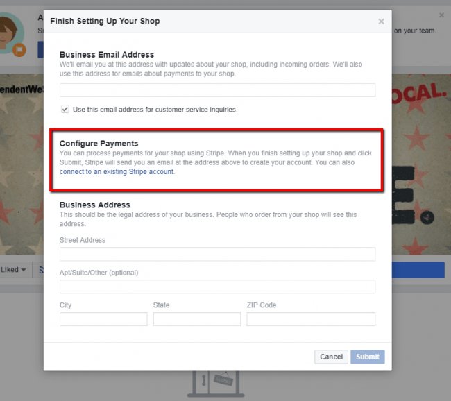 Facebook will ask you to connect your Business page with your existing Stripe account