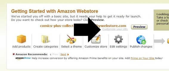 Amazon does not provide online stores with unique domain names