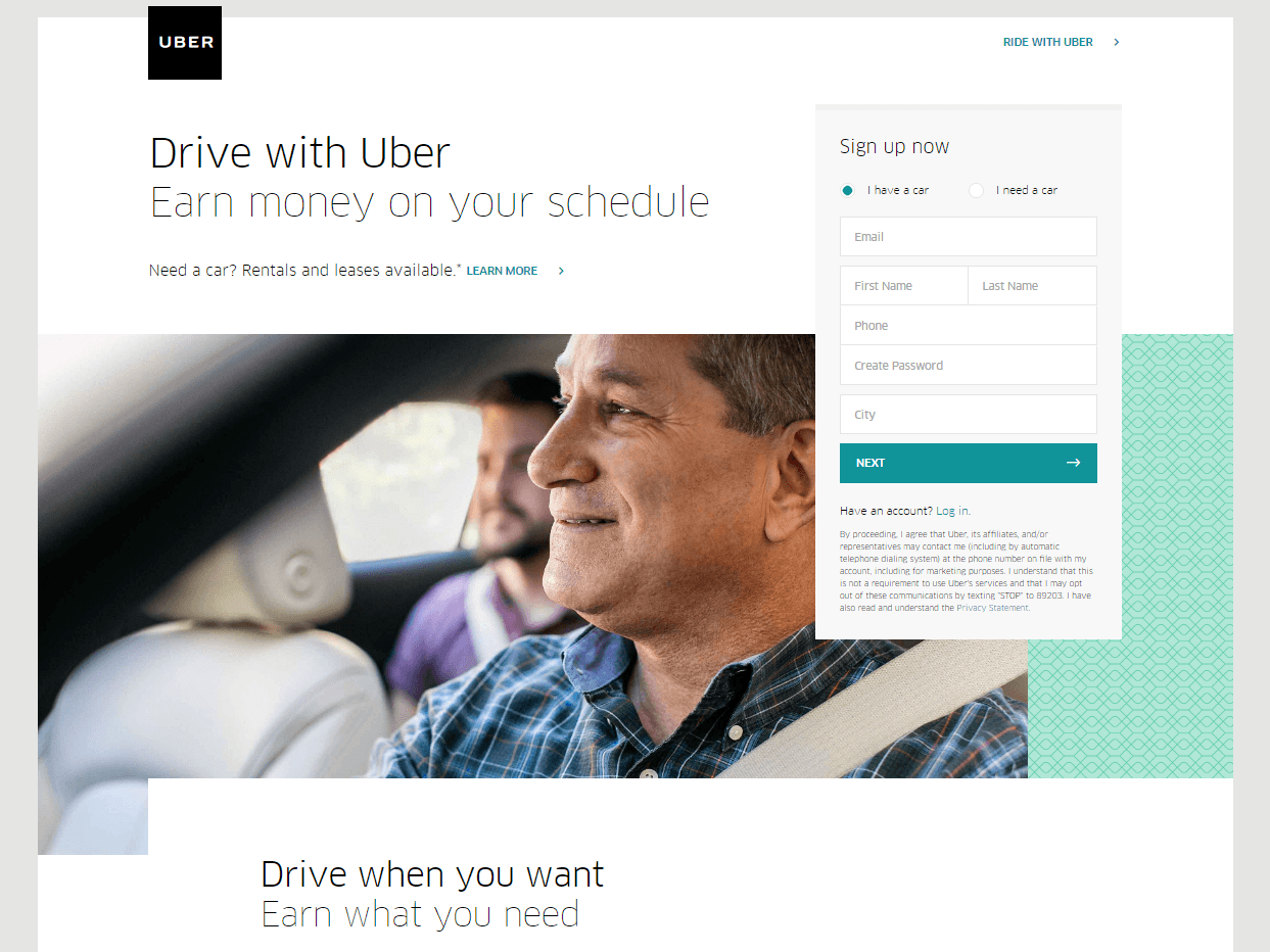 Uber Top 5 eCommerce landing pages
