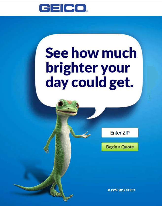 Geico Top 5 eCommerce landing pages