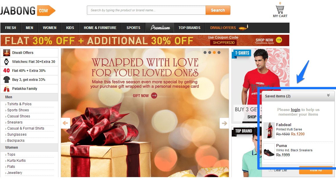Jabong's homepage uses long-term cookies and shows products added to the cart over a long period of time