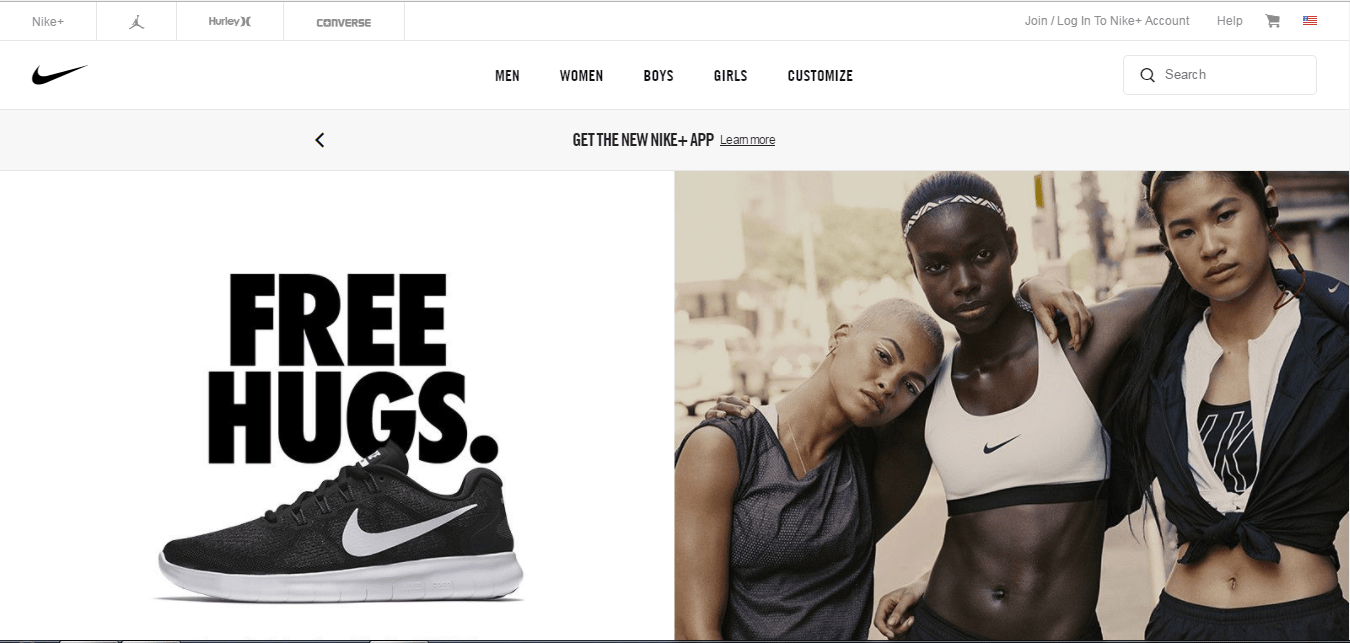 Nike tells customers their business value using a single image on a website homepage