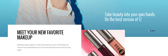 BHue Beauty, a retailer of beauty products, has a fantastic home page that demonstrates clear, simple messaging