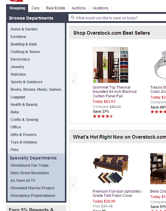 Overstock chose to use a vertical layout, and added a simple navigation menu in their site footer