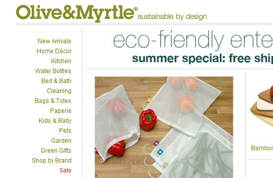 Olive & Myrtle  specializing in eco-friendly goods placed a vertical menu on the left side of their site