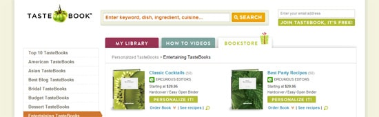 TasteBook  placed in a high-value location on the home page
