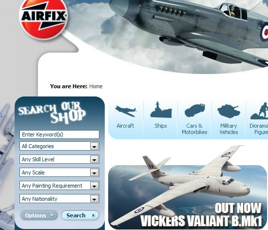 Airfix uses a search box widget that can filter by categories