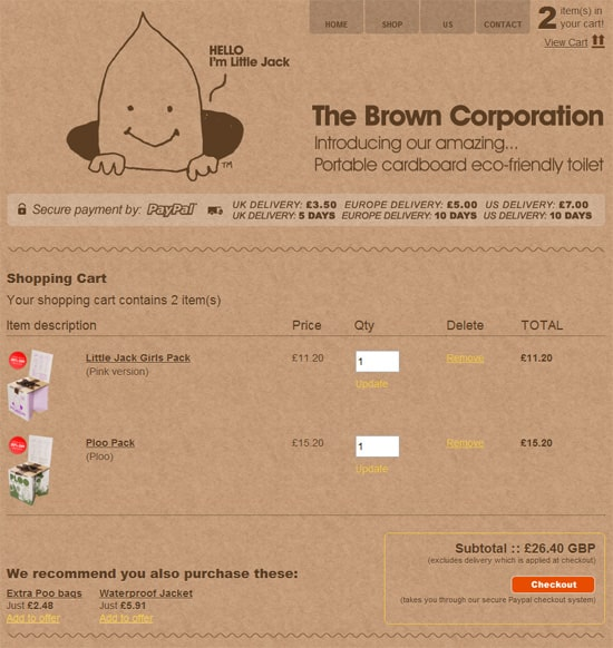 The Brown Corporation  shows us the basic elements of a shopping cart