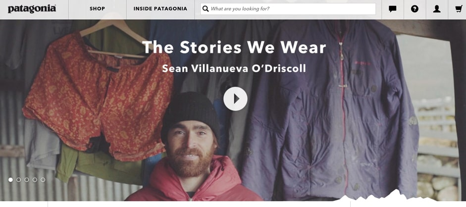 Outdoor clothing brand Patagonia does a great job of this. Their homepage features a video with stories about people going on outdoor adventures
