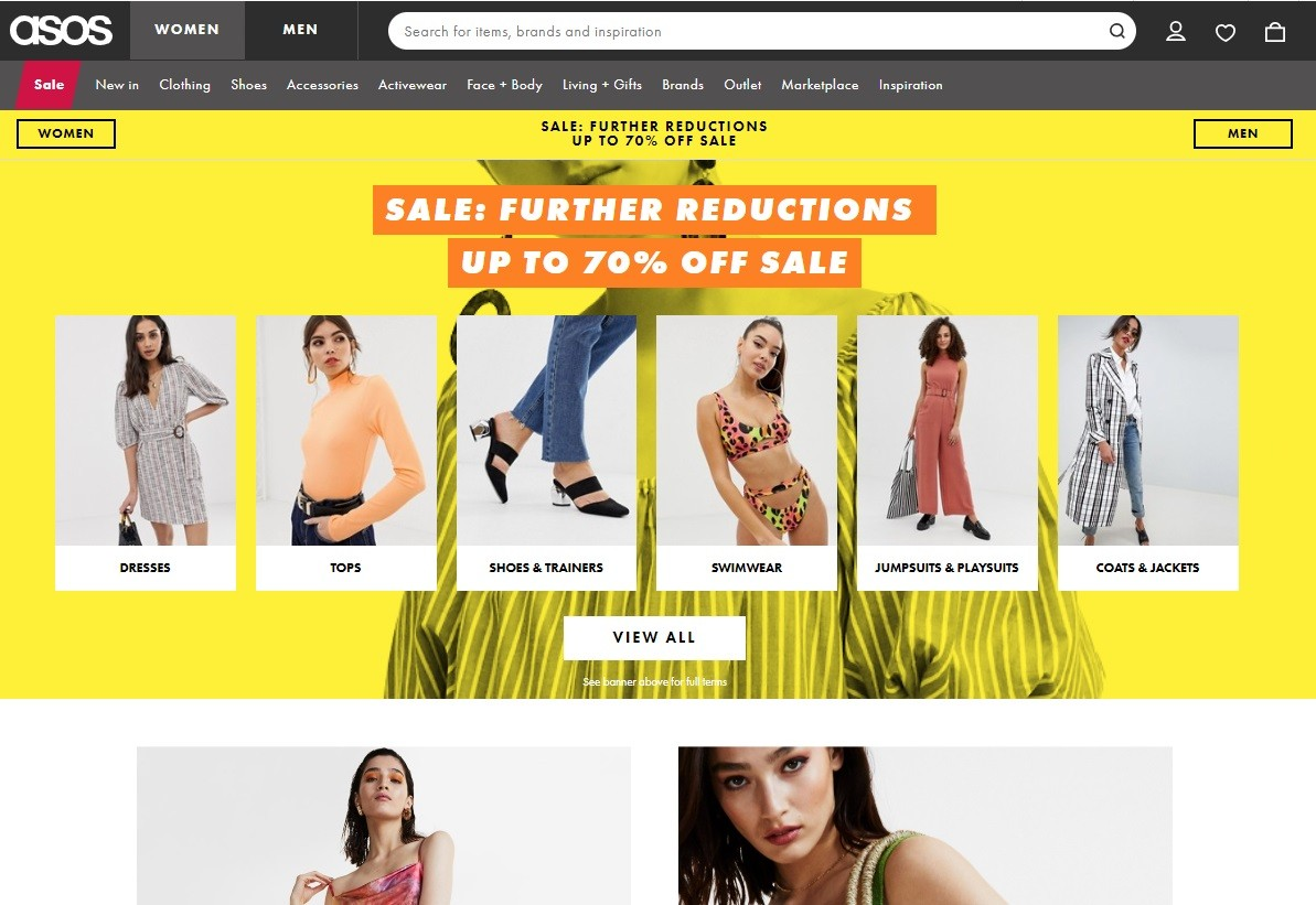 best ecommerce platform The home page has clear product categories to engage customers to start their journey and find a product which they are looking for.