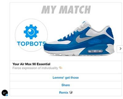 Chatbot development Nike Facebook