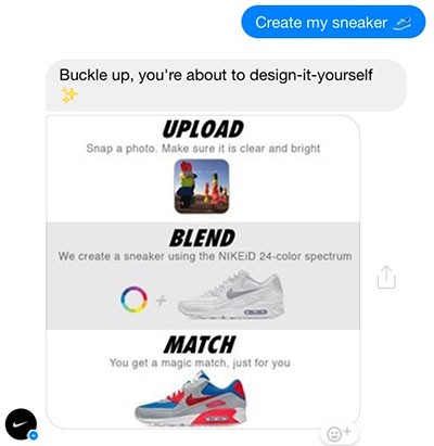 develop chatbot from scratch - The Nike chatbot allows users to create unique shoe styles and share them with friends on Facebook.