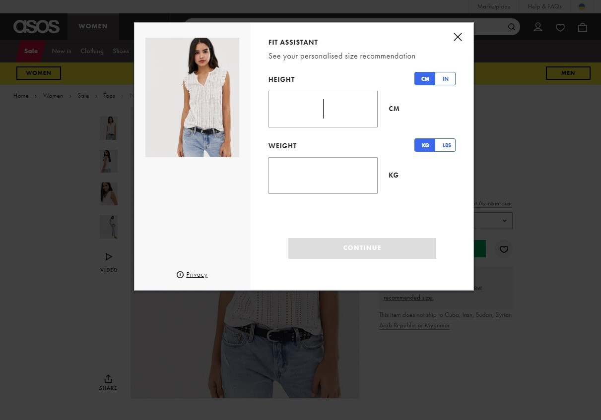 platform clothing store  The product page has many features to help the shopper to make the purchase useful.