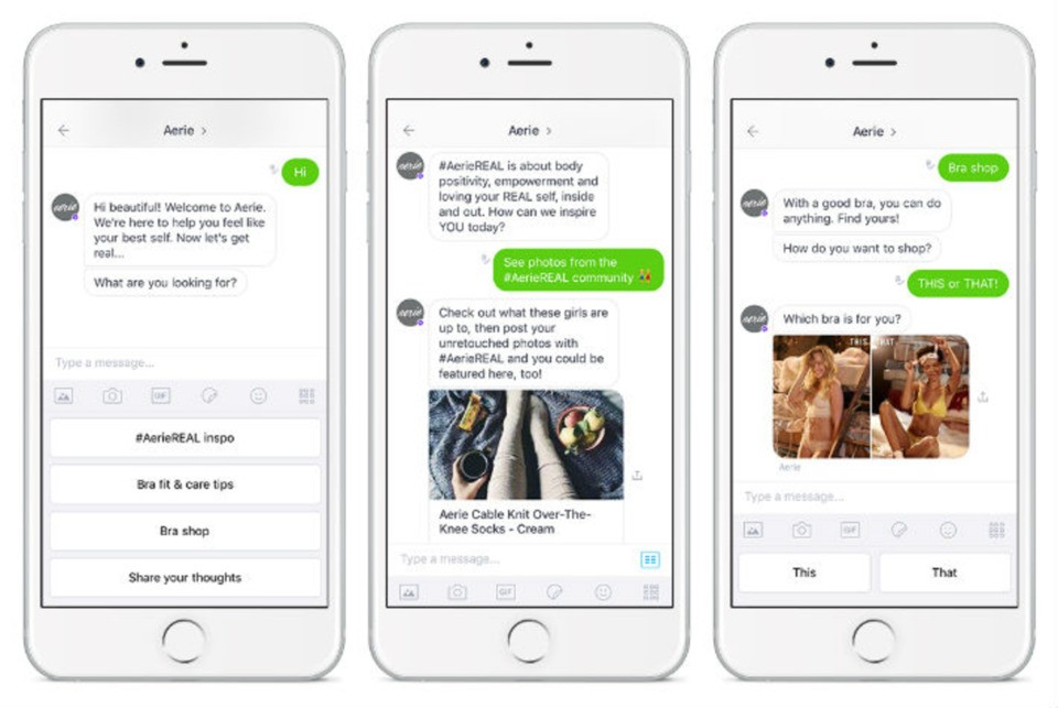 chatbot development for ecommerce - As we said, Aerie, women's intimates' retailer, uses product recommendation chatbot to offer customers more personalized shopping experience.