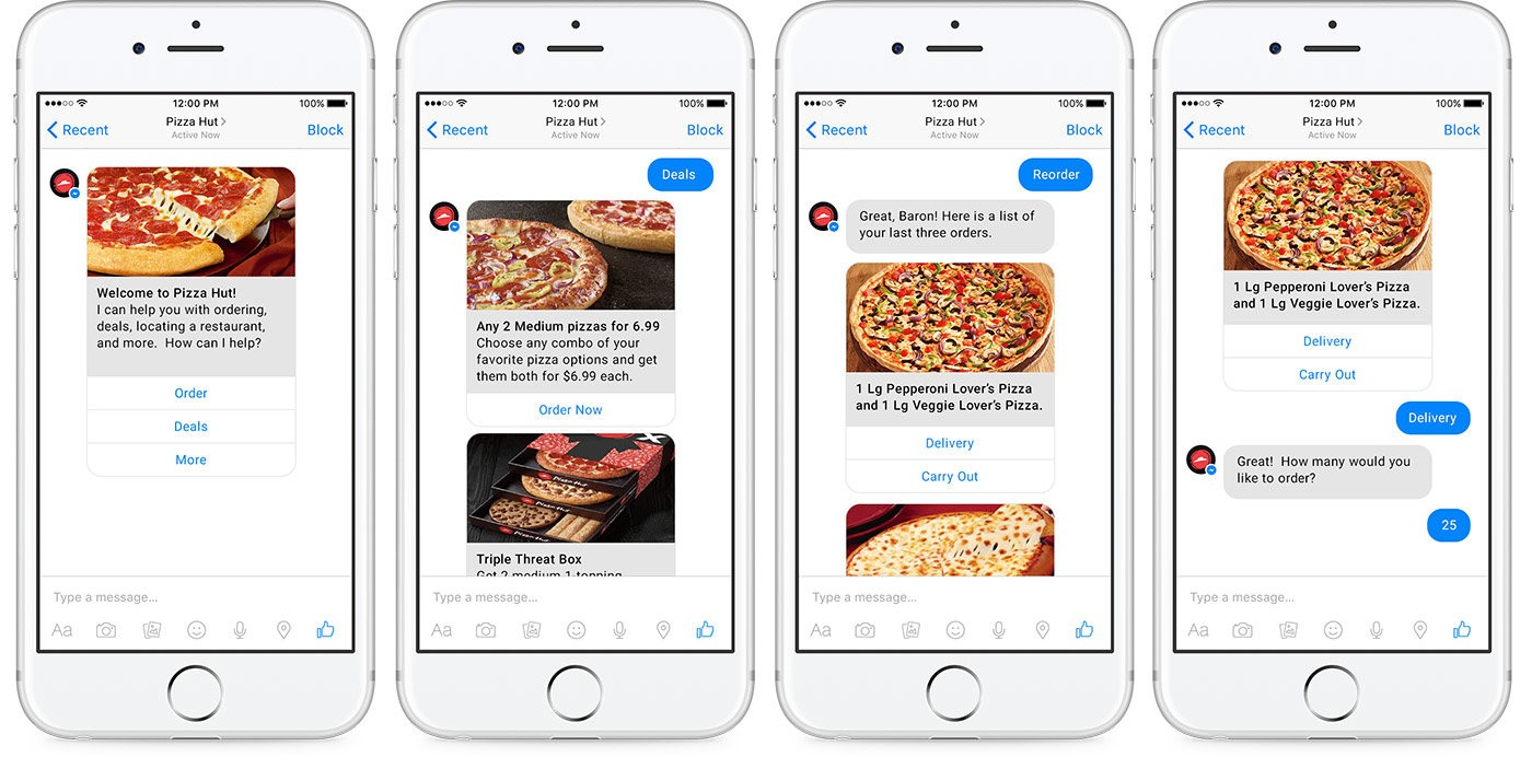 best ecommerce chatbots - Pizza Hut was the first company, which integrated an order automation chatbot with not only Facebook but also with Twitter messengers.