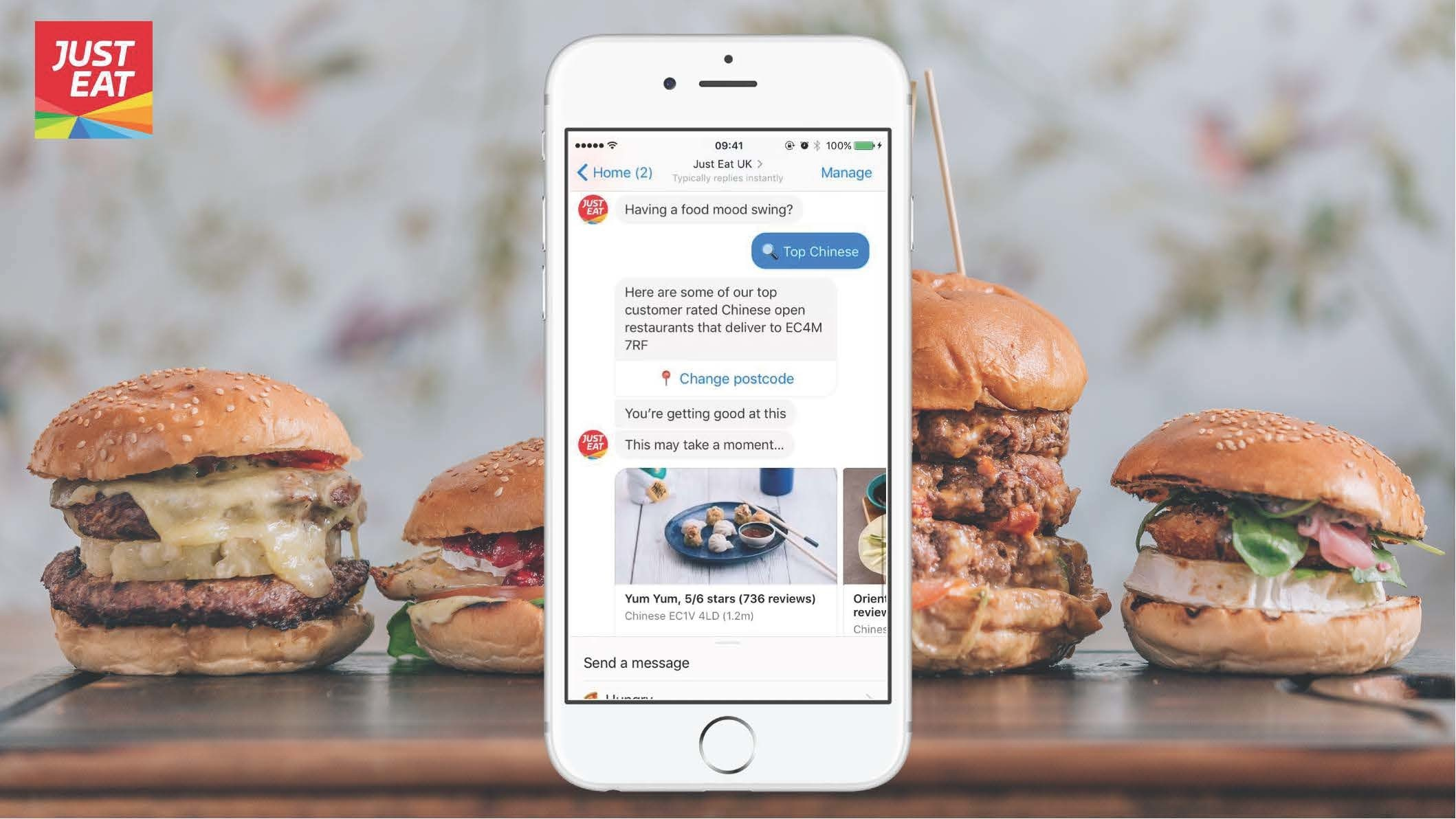 use of chatbots in ecommerce - Just Eat, online food order and delivery service, said their chatbot drove a 266% conversion rate, compared to an average social ad.