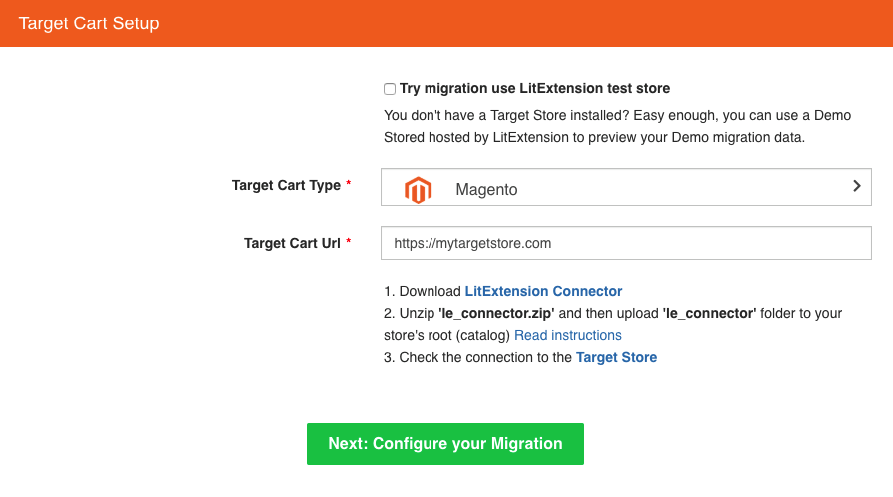 migrate opencart database to magento choose Magento as a Target Cart, give your store's URL, download the Connection Bridge and upload it to the root folder of our Magento store.