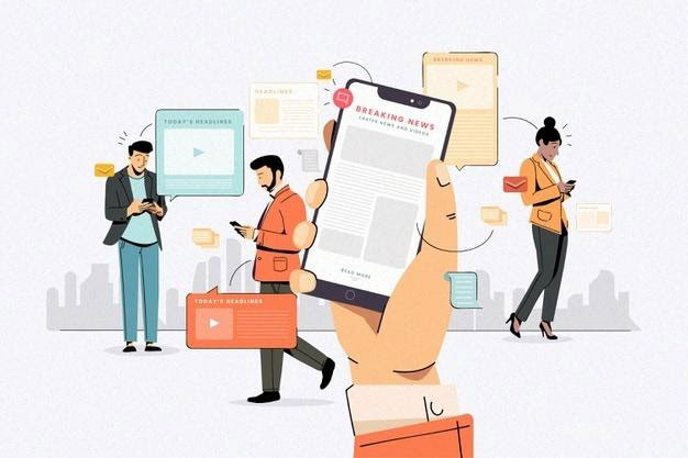 E-Commerce-PWA - People using their mobile phones for the news