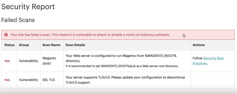 Failed Magento Security Scan results and recommended actions