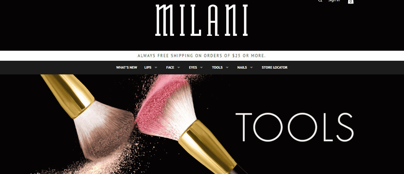 To display the products on their category page, the Milani online shop uses images