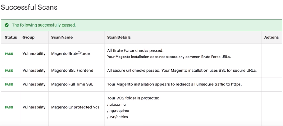Passed Magento Security Scan results