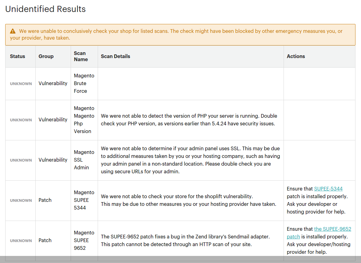 Unidentified Magento Security Scan results