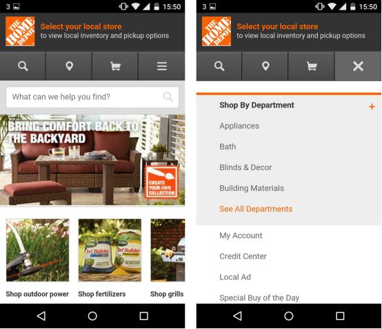 Responsive vs adaptive design examples Home Depot