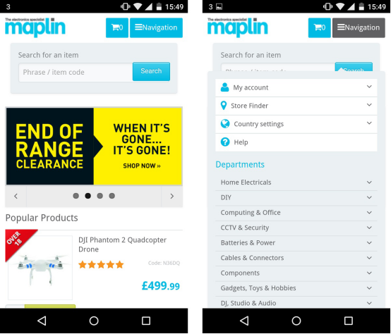 Responsive vs adaptive design examples Maplin