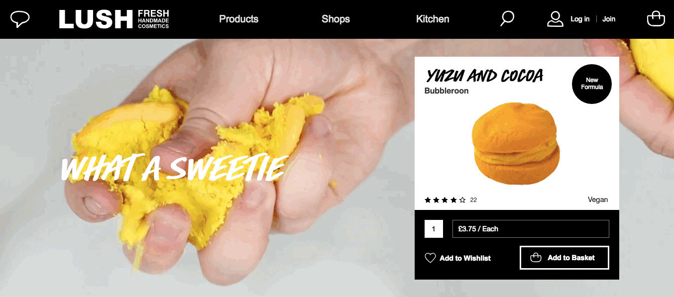 Lush company knows how to use and combine rich media content and descriptive content