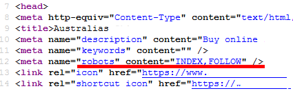 A new robots meta tag is added to the HTML