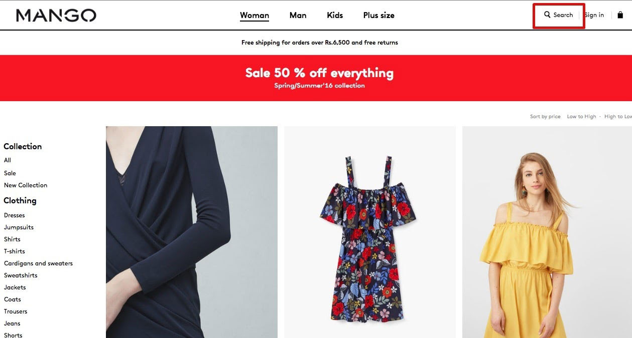 Веб-сайт электронной коммерции Mango, где поле поиска - это безупречный тег