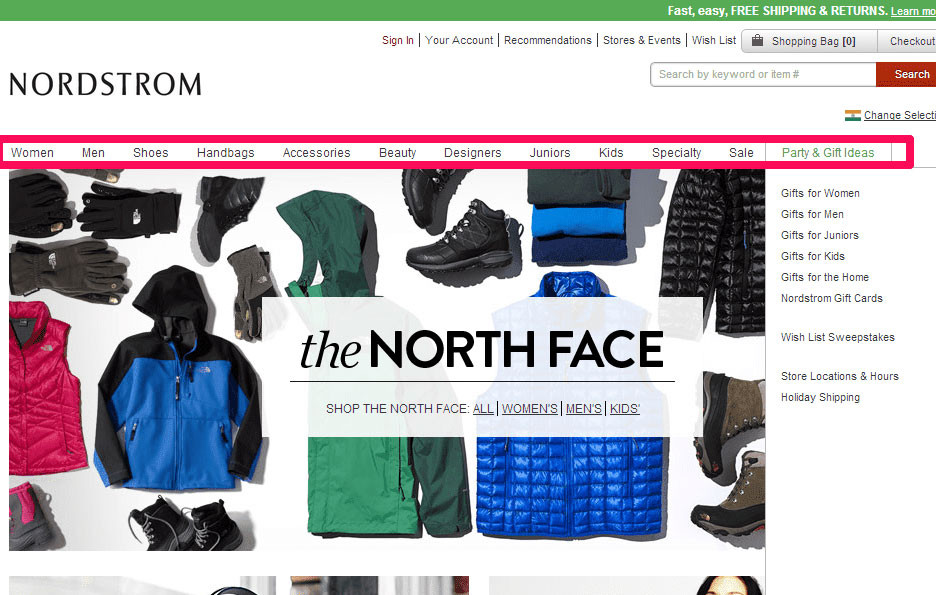 When developing a homepage for an eCommerce website, keep in mind that users expect to find a navigation bar horizontally on top and vertically on the left