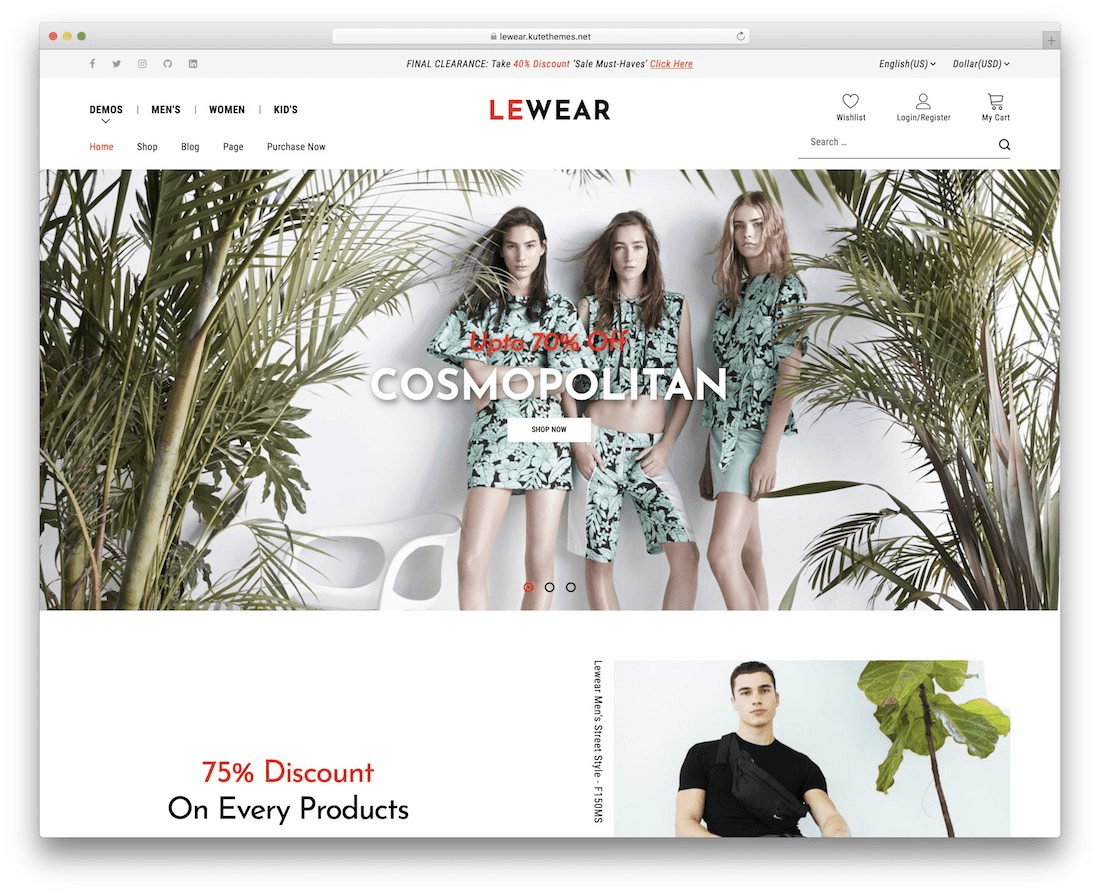 Outstanding template for apparel store: Lewear