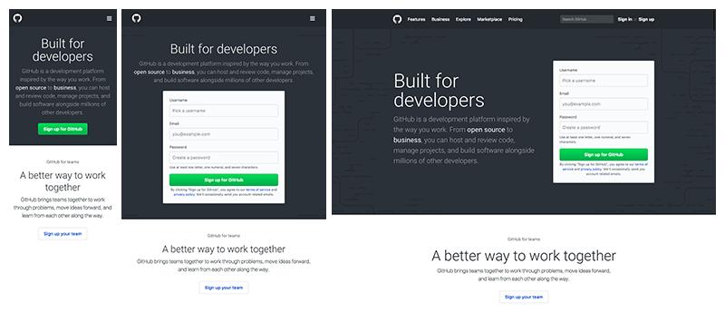 Примеры респонсивного дизайна GitHub