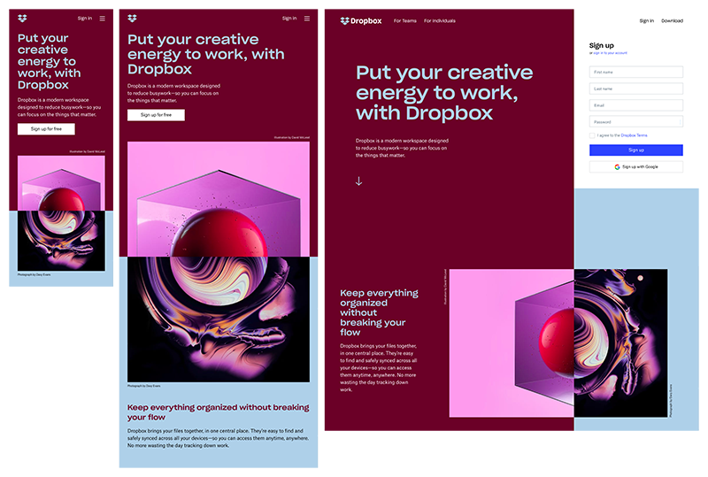 Примеры респонсивного дизайна DropBox