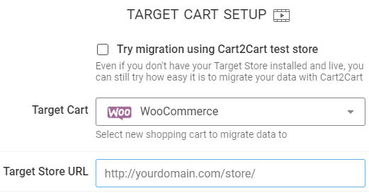"""select the WooCommerce platform as the target and fill the """"Target Store URL"""""""
